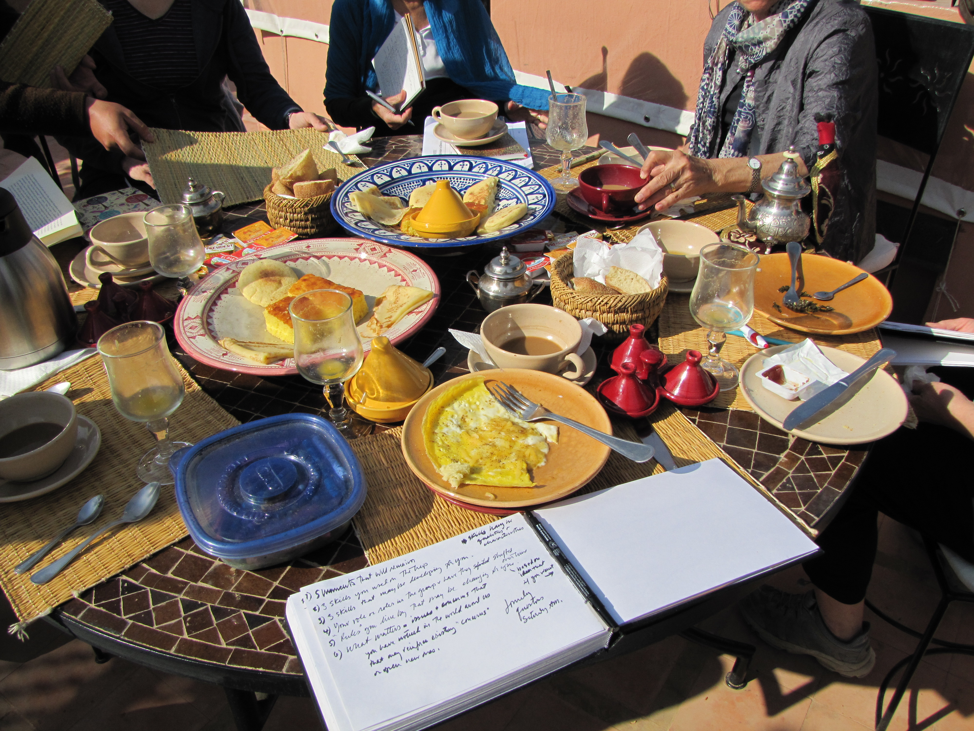 Journaling at breakfast in Marrakech